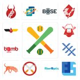 Set of fantasy baseball, ffs, fiber optic, non smoking, bloodhound, triple x, bomb squad, super chef, german eagle icons. Set Of 13 simple  icons such as fantasy Royalty Free Stock Photography
