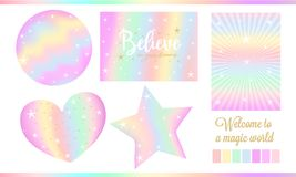 Set of fantasy card for little princess. Unicorn rainbow stickers in pastel colors pale yellow, light green, red, violet with white stars, golden dust. Cute vector illustration