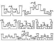 Set of Fantasy castles silhouettes for design. Vector i Stock Photo
