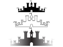 Set of Fantasy castles silhouettes for design. Vector Stock Photos