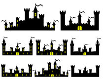 Set of Fantasy castles silhouettes for design Stock Photography
