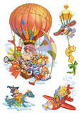 Set of fantasy characters, traveling by air. Characters design for invitations or greeting cards. Raster illustration Stock Photos