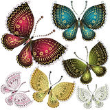 Set fantasy vintage butterfly Royalty Free Stock Image