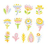 Set of fantasy fairy tale colorful flowers on white background. Child drawing, unusual fairy plants and flowers. royalty free illustration