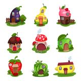 Set of fantasy houses in form of eggplant, pear, cupcake, mushroom, apple, strawberry, watermelon and lemon. Colorful. Set of fantasy houses in different shapes vector illustration