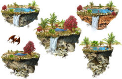 Set of fantasy islands Royalty Free Stock Images