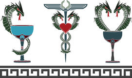 Set of fantasy medical and pharmacy symbols Royalty Free Stock Photos