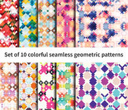 Set of 10 fantasy patterns. Set of 10 seamless vector fantasy pattern. Geometrical elements, bright colors, edgy shapes Stock Photography