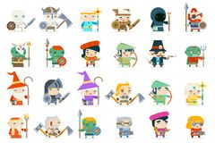 Set fantasy rpg game heroes villains minions character vector icons flat design vector illustration. Set fantasy rpg game heroes villains character minions royalty free illustration