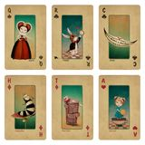 Set fantasy tale playing cards. Fairytale fantasy collection playing cards Wonderland characters. Computer graphics Royalty Free Stock Images