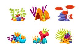 Set of fantasy underwater plants. Compositions with sea algae and stones. Flat vector design for mobile game stock illustration