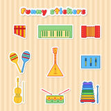 Set of fany vector musical instrumen stickers. Royalty Free Stock Image