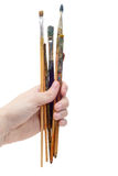 Set farb muśnięcia w ręce Zdjęcia Stock