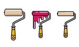 Set farba rolowników Liniowe ikony rolkowi muśnięcia Zdjęcie Stock
