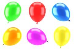 Set Farbenpartyballone getrennt auf Weiß Stockfoto