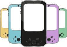 Set farbige smartphones. Iphon mögen smartphone Lizenzfreie Stockfotografie