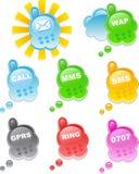 Set farbiges und glattes mobi Stockbild