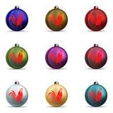 set Farbweihnachtsbälle stockfotos