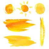 Set farby muśnięcia splotches i uderzenia yellow Fotografia Royalty Free