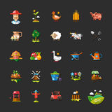 Set of farm and agriculture flat design icons Stock Photos