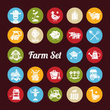 Set of farm agriculture flat design icons and Royalty Free Stock Photos