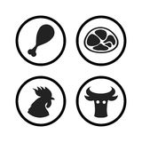 Set of Farm and Agriculture icons in black color Stock Image