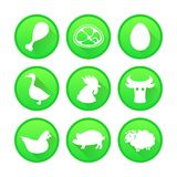 Set of Farm and Agriculture icons in green color Royalty Free Stock Images