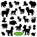 Set of farm animal silhouettes. Shadows (pig, cow, horse, goat, sheep, rabbit Stock Photo