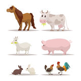 Set of farm animals and birds. Vector illustration. Of a flat design Stock Image