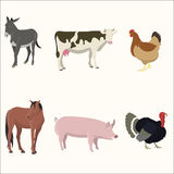 Set of farm animals. Donkey, cow, chicken turkey horse pig Royalty Free Stock Photo