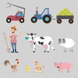 Set of farm animals and equipment Stock Image
