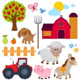 Set of farm animals. Farm animals, donkey, pig, sheep, dog, tree, farm building, fruits, a wooden fence and a tractor. Vector illustration collection royalty free illustration