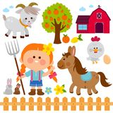 Farmer girl and animals. Vector illustration collection. Set of farm animals and farmer girl on white background. Vector illustration collection royalty free illustration