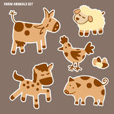 Set of farm animals. Horse, cow, sheep, pig and chicken Stock Photos