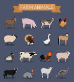 Set of farm animals icons. Flat style design. Vector illustration royalty free illustration