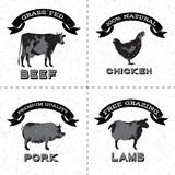 Set of farm animals monochrome Royalty Free Stock Images