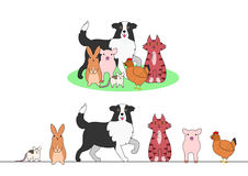 Set of farm animals, a row and a group. Set of cute farm animals, a row and a group royalty free illustration