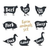 Set of farm animals with sample text. Silhouettes hand drawn animals: cow, rooster, chicken, sheep, pig, rabbit, duck, goose. Vector illustration Stock Photos
