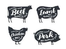 Set of farm animals with sample text. Silhouettes hand drawn animals: cow, sheep, pig, chicken. Premium meat. Vector logotype design royalty free illustration