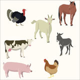 Set of farm animals. Vector illustration Stock Photography