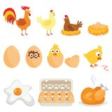 Set of farm animals, vector stickers with chicken family on white isolated background. Vector illustration royalty free illustration