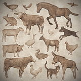 Set of farm animals vintage style - 3D render Royalty Free Stock Image