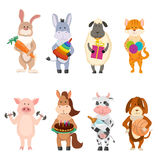 Set of farm cartoon animals with various activities. Set of farm cartoon animals with childish activities Stock Photography