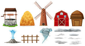Set of farm elements and weathers Stock Image