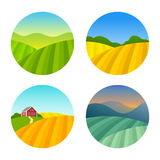 Set of Farm Fields Landscapes Royalty Free Stock Photos