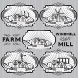 Set of farm, mill, windmill, rural landscape Royalty Free Stock Photo