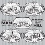 Set of farm, mill, windmill, rural landscape. Set of vector labels for farm, mill, windmill, rural landscape Royalty Free Stock Photo