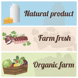 Set of farm poducts banners. Set of banners with organic vegetables, meat and dairy products. Design for farm market advertising and bio product business Stock Photo
