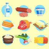 Set Of Farm Product Colorful Stickers Royalty Free Stock Photo