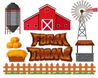 Set of farm scene stock illustration